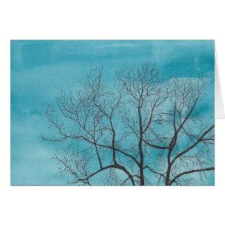 Árbol en invierno tarjeta de felicitación