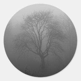 Árbol en la niebla pegatina redonda