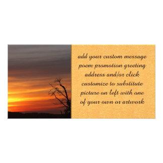 Árbol en la puesta del sol tarjeta personal
