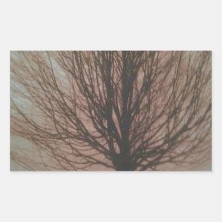 Árbol en productos de la caída pegatina rectangular