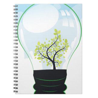 Árbol en una bombilla cuaderno