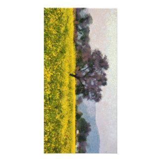 Árbol en una visión amarilla tarjeta personal con foto
