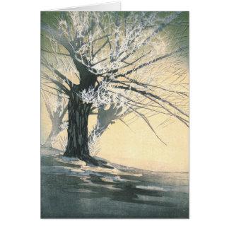 Árbol escarchado 1920 tarjeta de felicitación