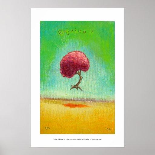 Árbol esperanzado del arte de la pintura moderna póster