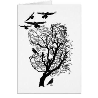 Árbol estéril del cuervo del cuervo tarjeta de felicitación