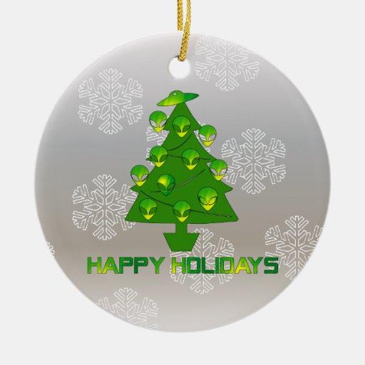 Árbol extranjero del día de fiesta adorno navideño redondo de cerámica