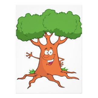 árbol feliz del dibujo animado invitación personalizada