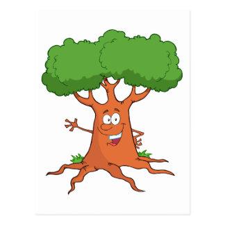 árbol feliz del dibujo animado postal