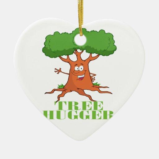 ÁRBOL feliz HUGGER del árbol del dibujo animado Adorno De Cerámica En Forma De Corazón