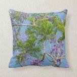 árbol florecido púrpura del jacaranda contra el ci almohada