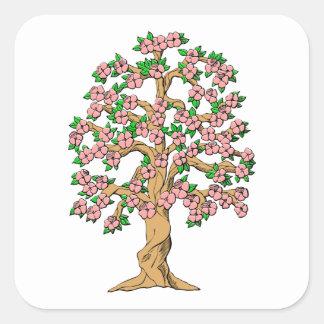 Árbol floreciente con los flores rosados pegatina