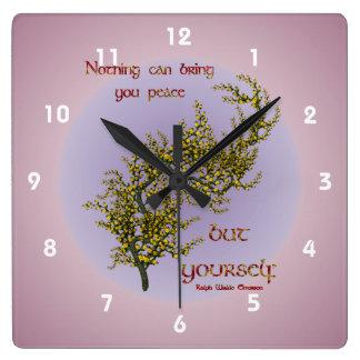 Árbol floreciente de la cita interna de la paz ins reloj cuadrado