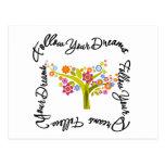 Árbol floreciente - siga sus sueños tarjetas postales