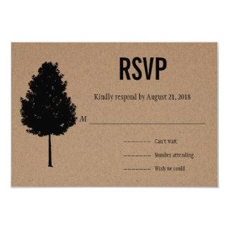 """Árbol forestal rústico del papel de Kraft que casa Invitación 3.5"""" X 5"""""""