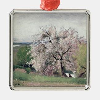 Árbol frutal en el flor, Bois-le-ROI Adorno Navideño Cuadrado De Metal