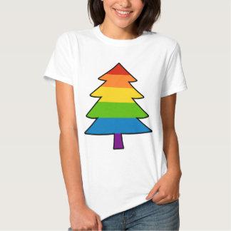 Árbol gay de Navidad del arco iris Playeras