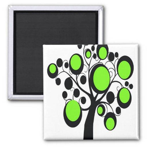 Árbol gótico en verde imanes de nevera