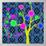 Árbol gráfico en los colores de neón posters