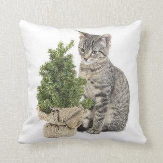 Árbol gris del verde del gatito cojin