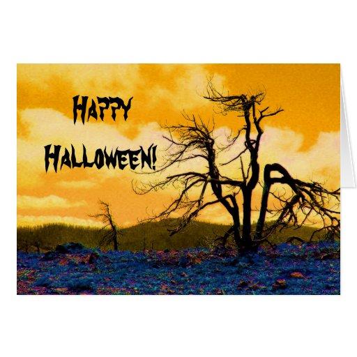 Árbol Halloween del misterio Tarjeta De Felicitación
