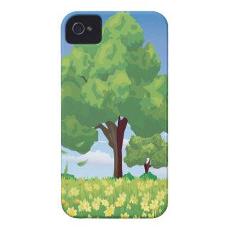 Árbol hermoso y flores amarillas Case-Mate iPhone 4 cárcasa