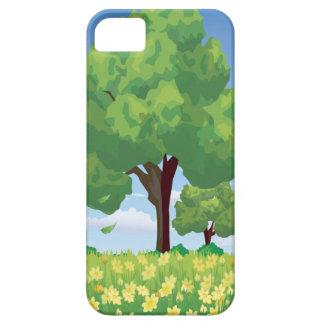 Árbol hermoso y flores amarillas funda para iPhone 5 barely there