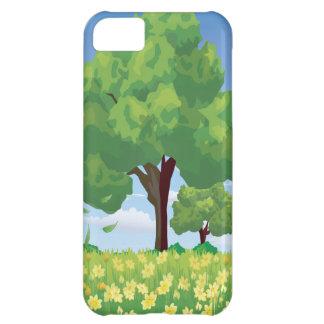 Árbol hermoso y flores amarillas funda para iPhone 5C