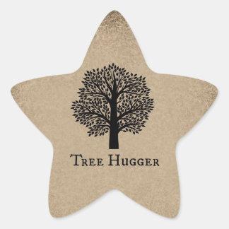 Árbol Hugger de Brown Calcomanía Cuadrada