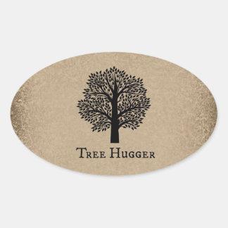 Árbol Hugger de Brown Pegatina De Ovaladas