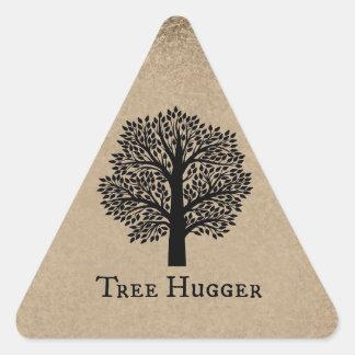 Árbol Hugger de Brown Pegatinas De Triangulo