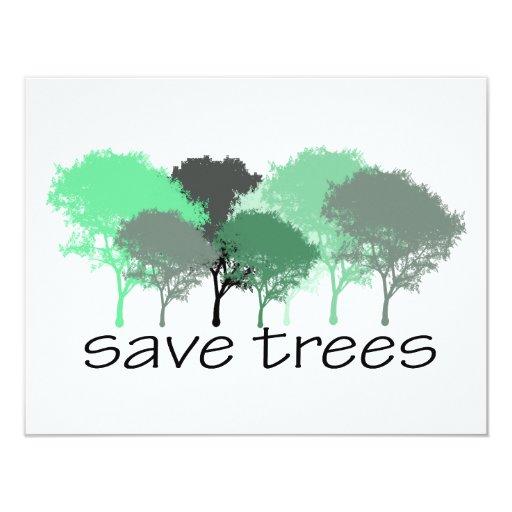 """¡Árbol Hugger! ¡Diseño lindo de los árboles! Invitación 4.25"""" X 5.5"""""""