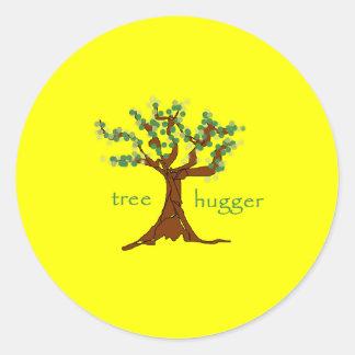 Árbol Hugger Etiquetas Redondas