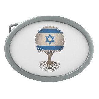 Árbol israelí de la bandera del personalizable de hebilla de cinturon oval