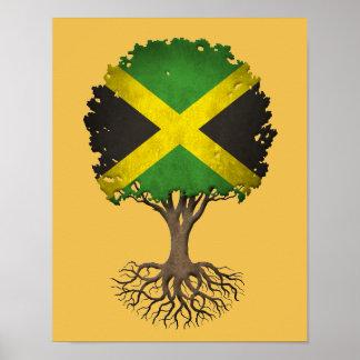 Árbol jamaicano de la bandera del personalizable poster