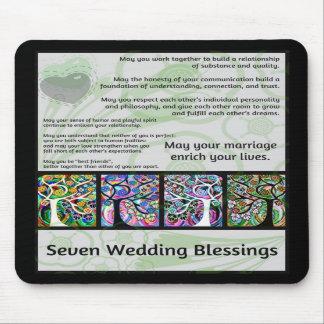 Árbol judío de siete bendiciones que se casa de la alfombrillas de ratón