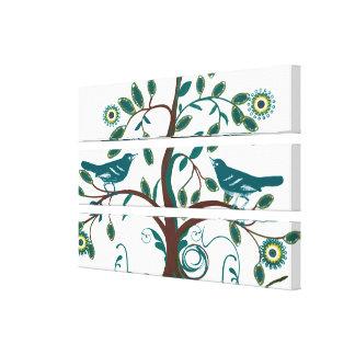 Árbol lindo enrrollado de Swirly de los pájaros de Impresiones De Lienzo