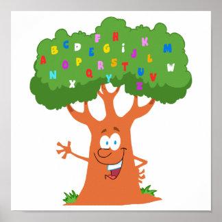 árbol lindo feliz del alfabeto del ABC del dibujo  Póster