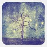 Árbol mágico del universo pegatina cuadrada