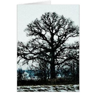 Árbol majestuoso en la nieve tarjetón