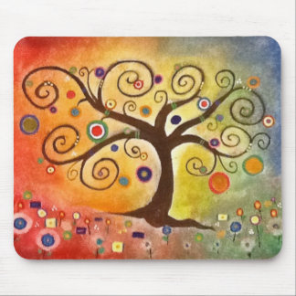 Árbol maravillosamente colorido de la bella arte d tapetes de ratones
