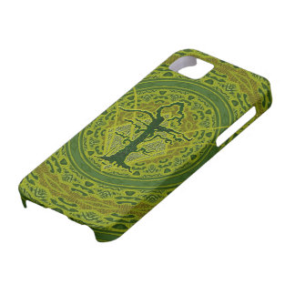 Árbol marchitado viejo abstracto verde iPhone 5 Case-Mate carcasa