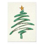 Árbol metálico Swished de Navidad del verde Invitación 12,7 X 17,8 Cm