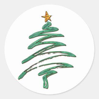 Árbol metálico Swished de Navidad del verde Etiqueta Redonda