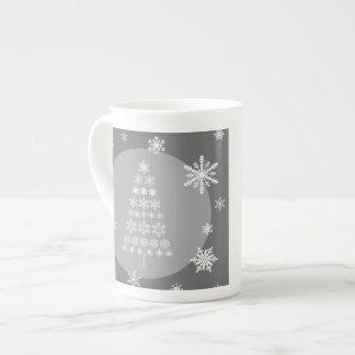 árbol moderno del copo de nieve de las tendencias taza de porcelana