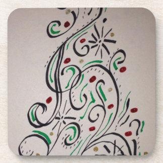 Árbol moderno del día de fiesta del remolino posavasos