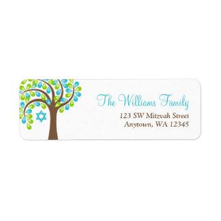 Árbol moderno del palo Mitzvah del verde azul del  Etiquetas De Remite