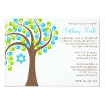 Árbol moderno del palo Mitzvah del verde azul del Invitación 12,7 X 17,8 Cm