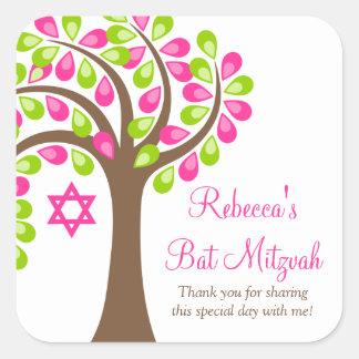 Árbol moderno del palo Mitzvah del verde del rosa Pegatina Cuadrada