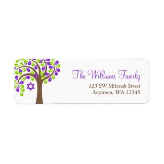 Árbol moderno del palo verde púrpura Mitzvah de la Etiqueta De Remite