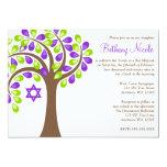 Árbol moderno del palo verde púrpura Mitzvah de la Invitación 12,7 X 17,8 Cm